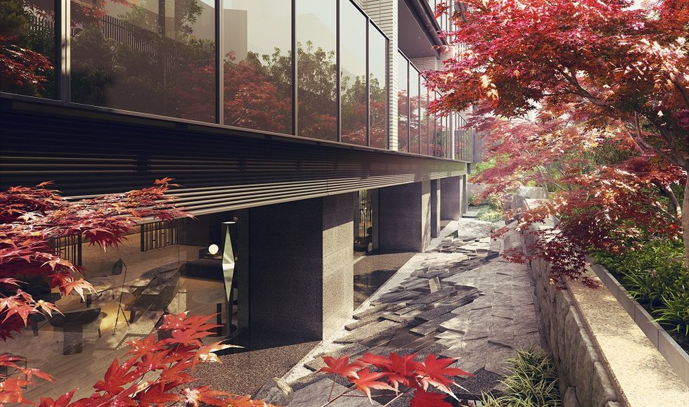 「ザ・パークハウス 渋谷南平台」の庭園完成予想図