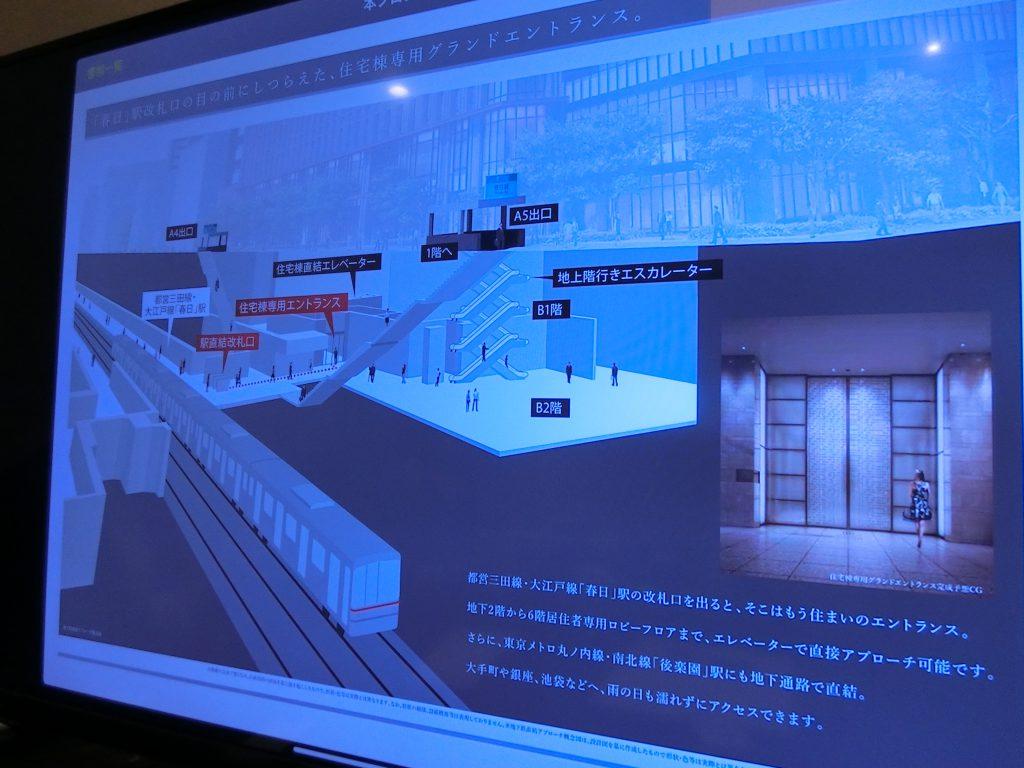 「パークコート文京小石川 ザ タワー」のプレゼンテーション 地下鉄の開札を出るとすぐにエントランス