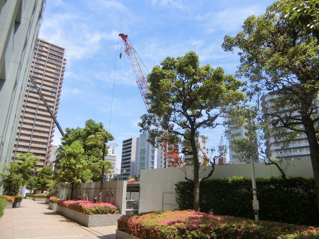 西側隣地と「パークコート文京小石川 ザ タワー」の建設地