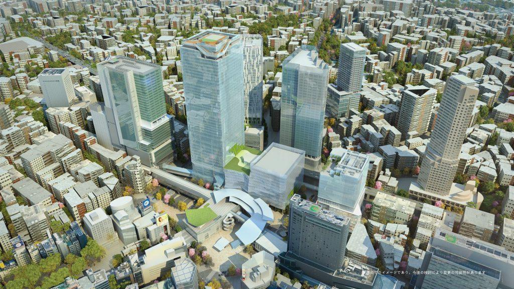 「2027年度頃の渋谷駅周辺のイメージ (上空よりのぞむ)」提供元:東京急行電鉄株式会社