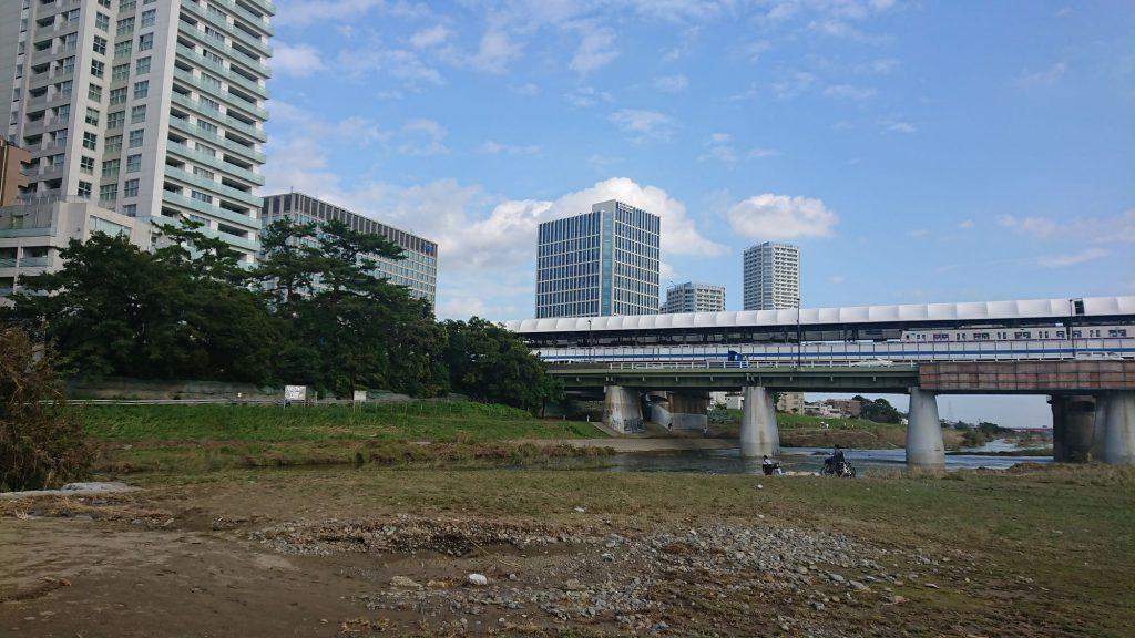 多摩川の河川敷(2019年10月15日撮影)
