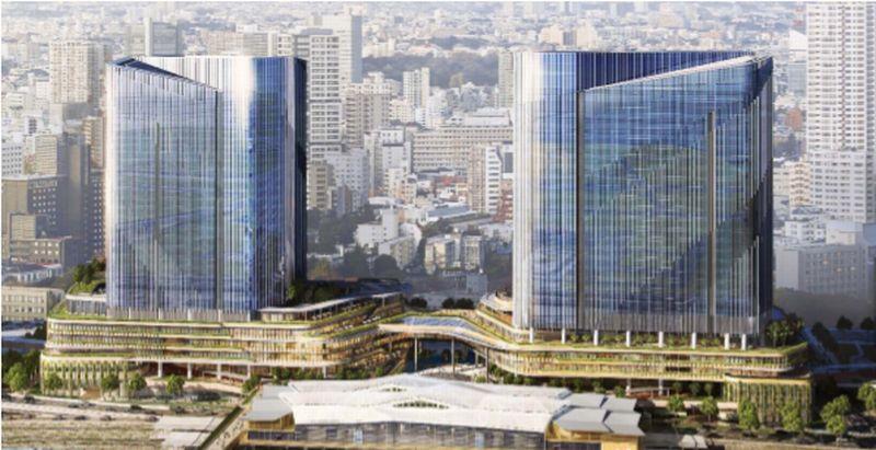 高輪ゲートウェイ周辺の再開発街区「4街区パース」港南側から4街区(南棟および北棟)を望む (出典:東日本旅客鉄道)