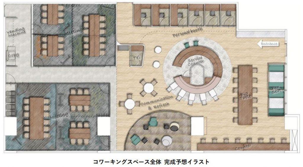 「パークタワー勝どきミッド/サウス」のコワーキングスペース完成イメージ