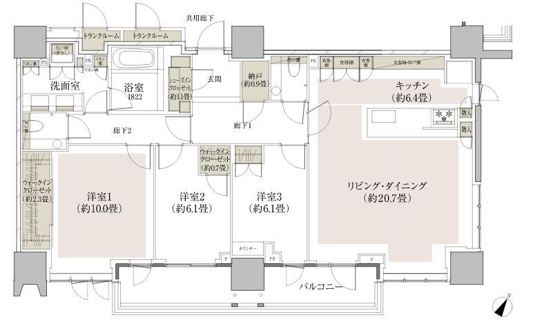 「ザ・パークハウス 高輪タワー」120Bタイプ 専用面積 / 123.89平米(約37.47坪)の間取図