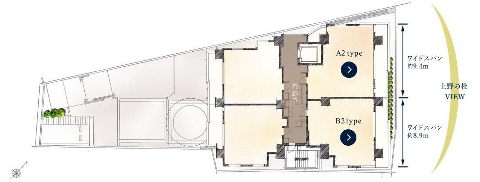 「クレヴィア上野池之端」のフロア概念図(出典:公式HPより)