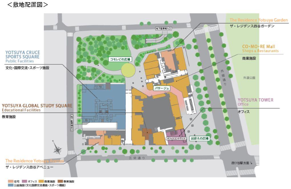「コモレ四谷」の敷地配置図