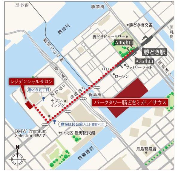 「パークタワー勝どきミッド/サウス」の案内図