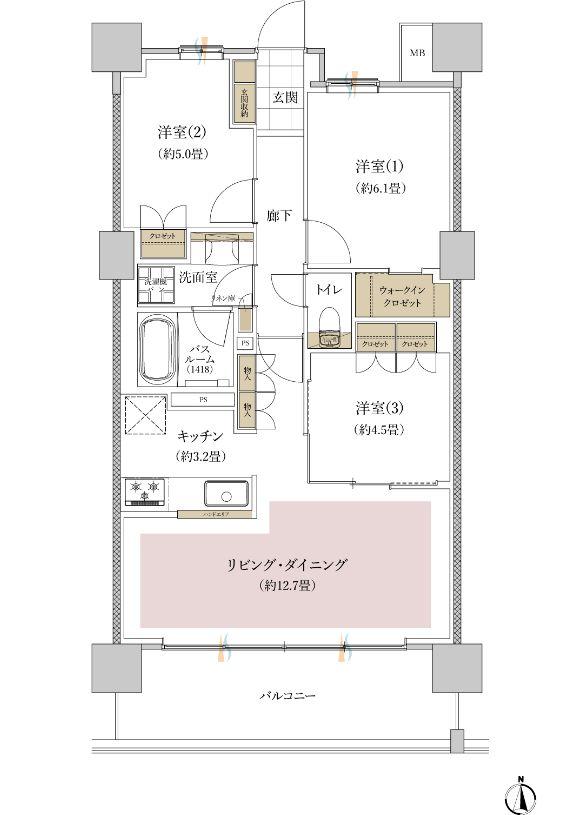 「ライオンズ横濱瀬谷ステーションスクエア」Nタイプ間取り (専有面積:70.2平米 3LDK+WIC)出典:公式HP