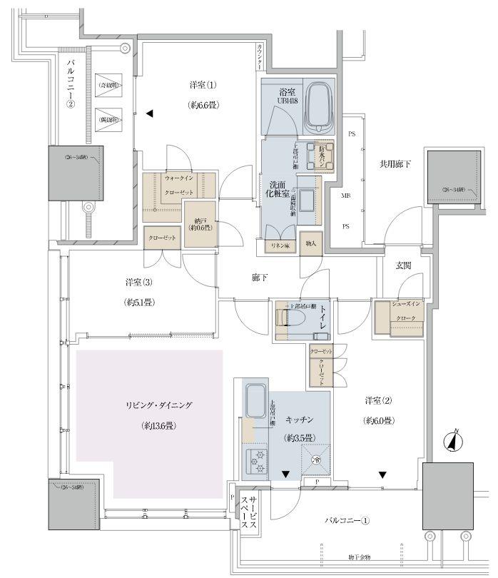 「プラウドタワー東池袋ステーションアリーナ」のNタイプ 80.01平米(モデルルームのユニット)の間取り図 (出典:HP)