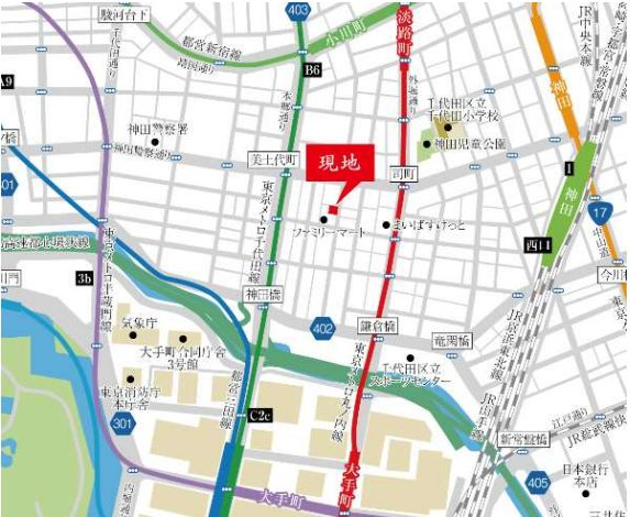 The Parkhabio SOHO 大手町の現地周辺地図