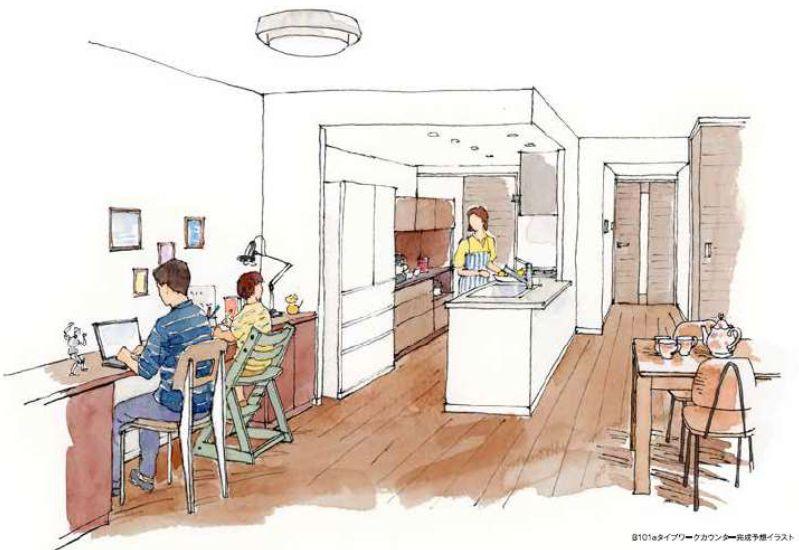 「ザ・パークハウス 新浦安マリンヴィラ」ワークスペース用カウンター付きリビング・ダイニングプランのイラスト例
