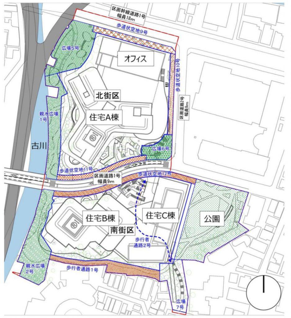 「三田小山町西地区第一種市街地再開発事業」の配置図