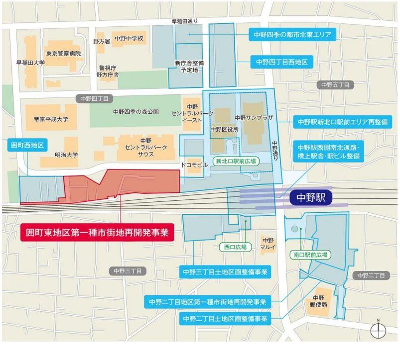 「囲町東地区第一種市街地再開発事業」位置図