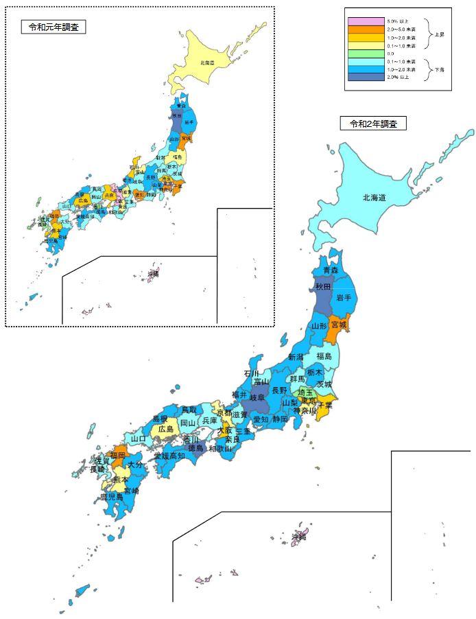 令和2年都道府県地価調査(全国 変動率:住宅地)