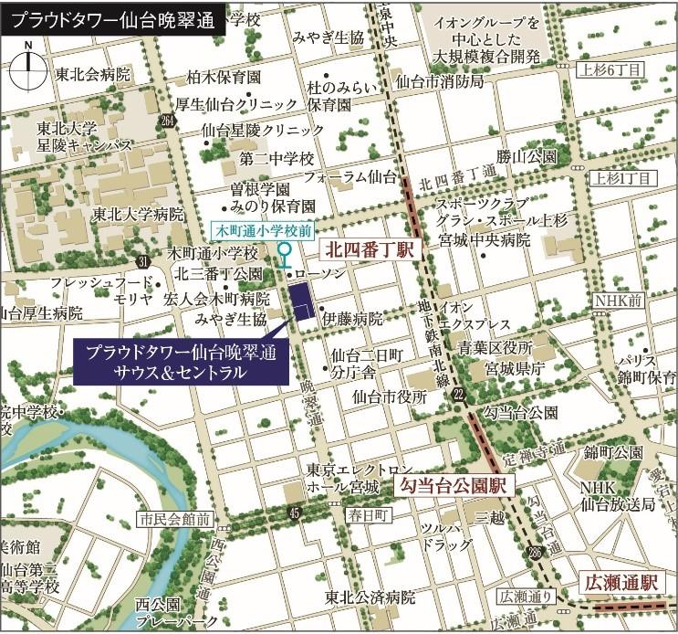 「プラウドタワー仙台晩翠通サウス&セントラル」の現地案内図