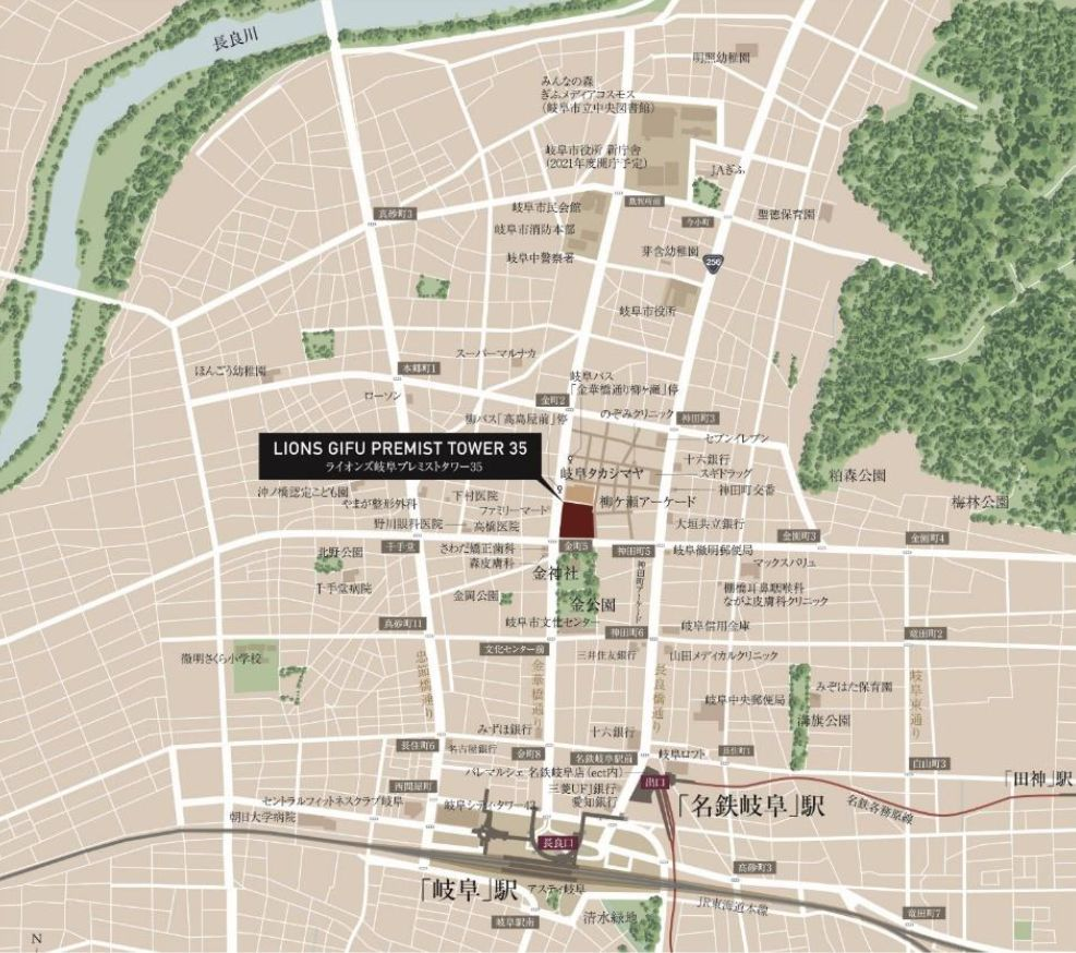 「ライオンズ岐阜プレミストタワー35」の建設地地図