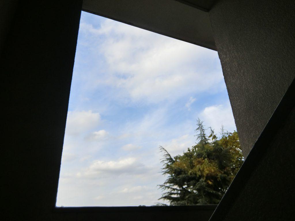 石神井公園団地の共用階段から見た空の様子