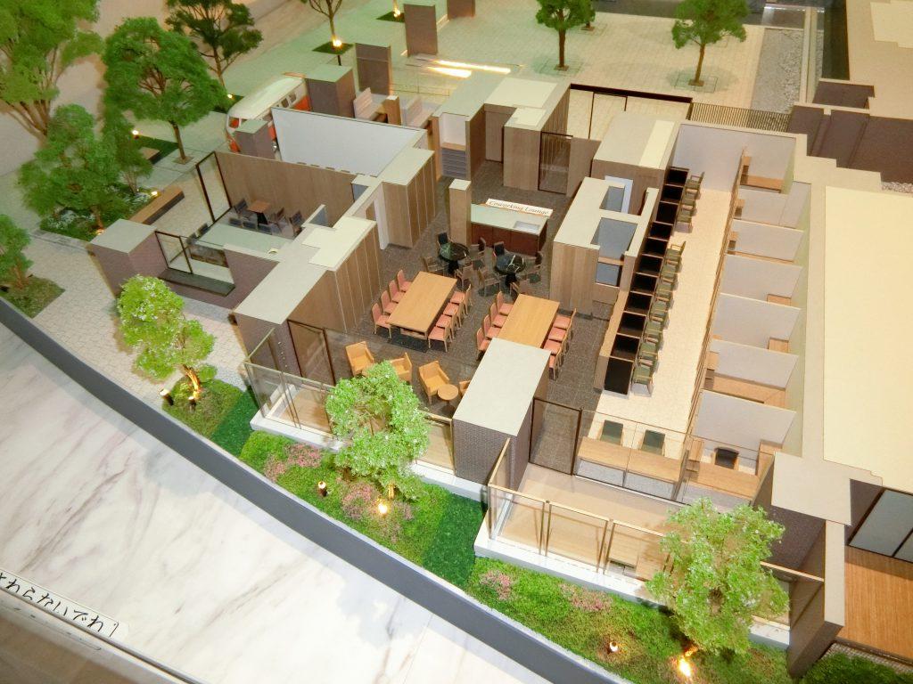 「ブリリアシティ西早稲田」のコワーキングスペースなどの完成予想模型