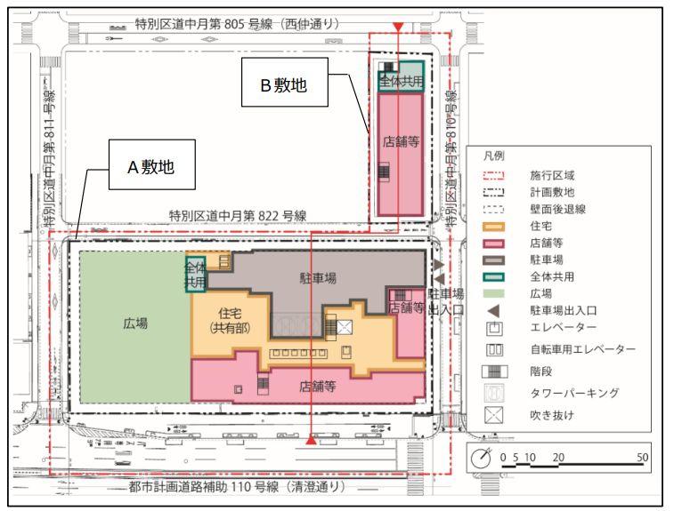 「月島三丁目南地区第一種市街地再開発事業」の配置図兼1階平面図