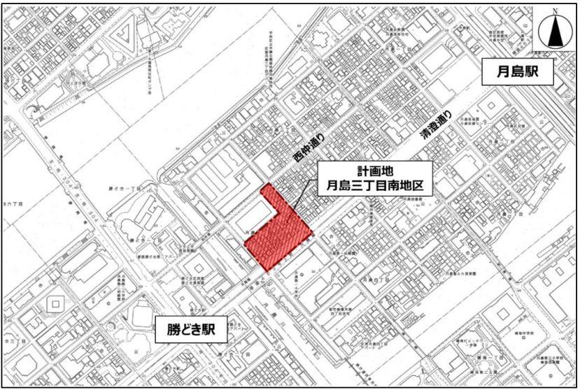 「月島三丁目南地区第一種市街地再開発事業」の位置図