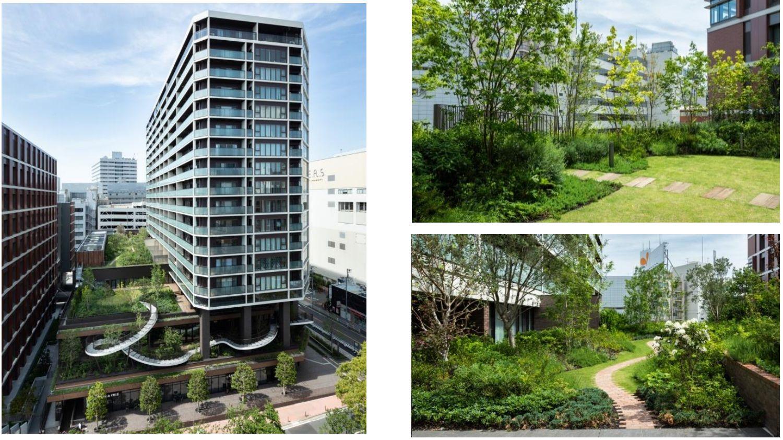 「横浜北幸ビル」の外観(左)と屋上ガーデン (右)