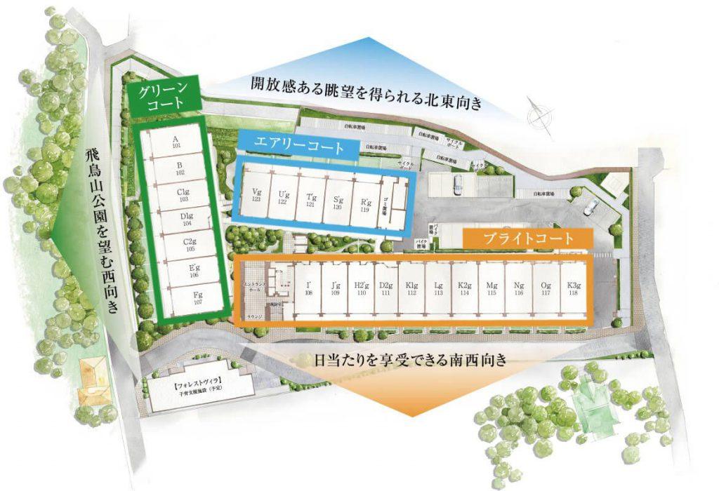 「ASUKAYAMA RESIDENCE」の1階敷地配置図