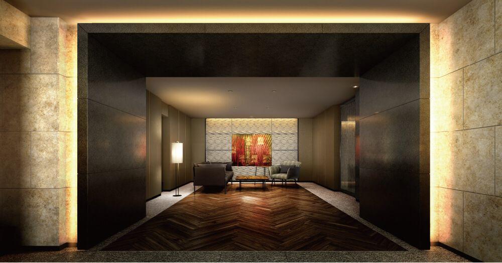 「パークホームズ市ヶ谷ヒルトップレジデンス」の神楽坂エントランスホールの完成予想図