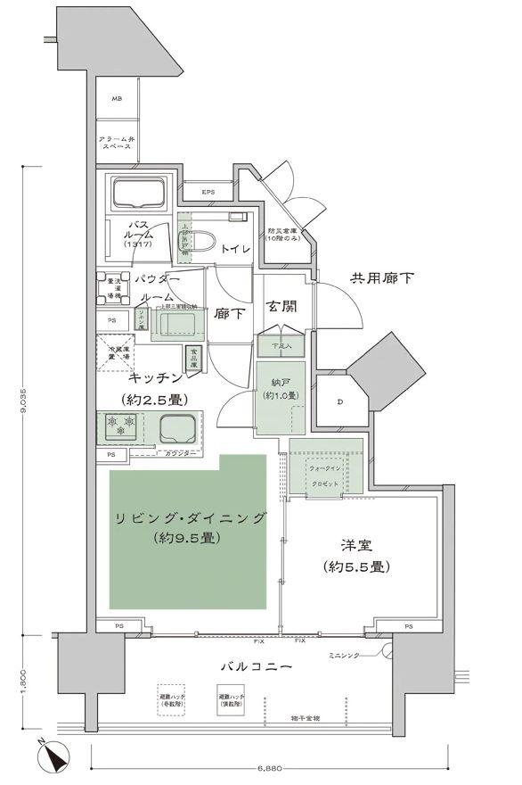 「シティハウス武蔵野」のGタイプ44.30㎡(1LD·K+N+WIC)の間取り図