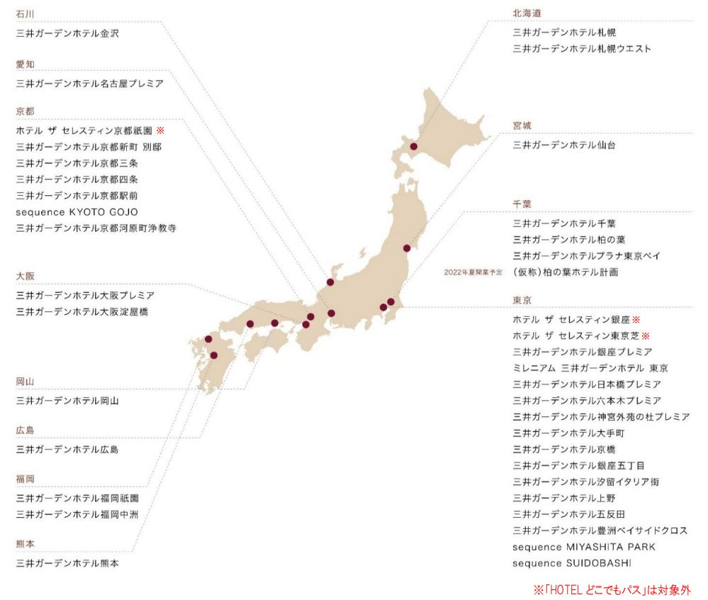 日本全国のザ セレスティンホテルズ、三井ガーデンホテルズ、sequence