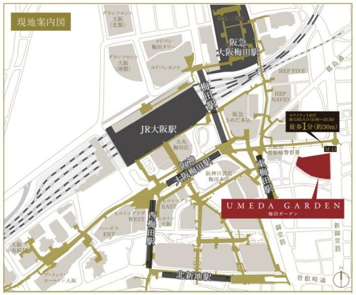 「梅田ガーデン」の現地案内図