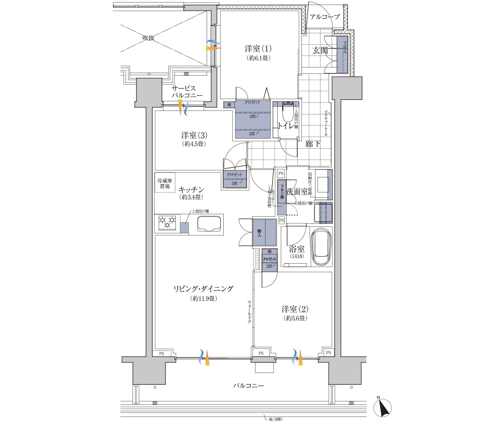 グランドメゾンセンター北フロントのBrタイプ(モデルルームタイプ)の間取り 専有面積73.45㎡