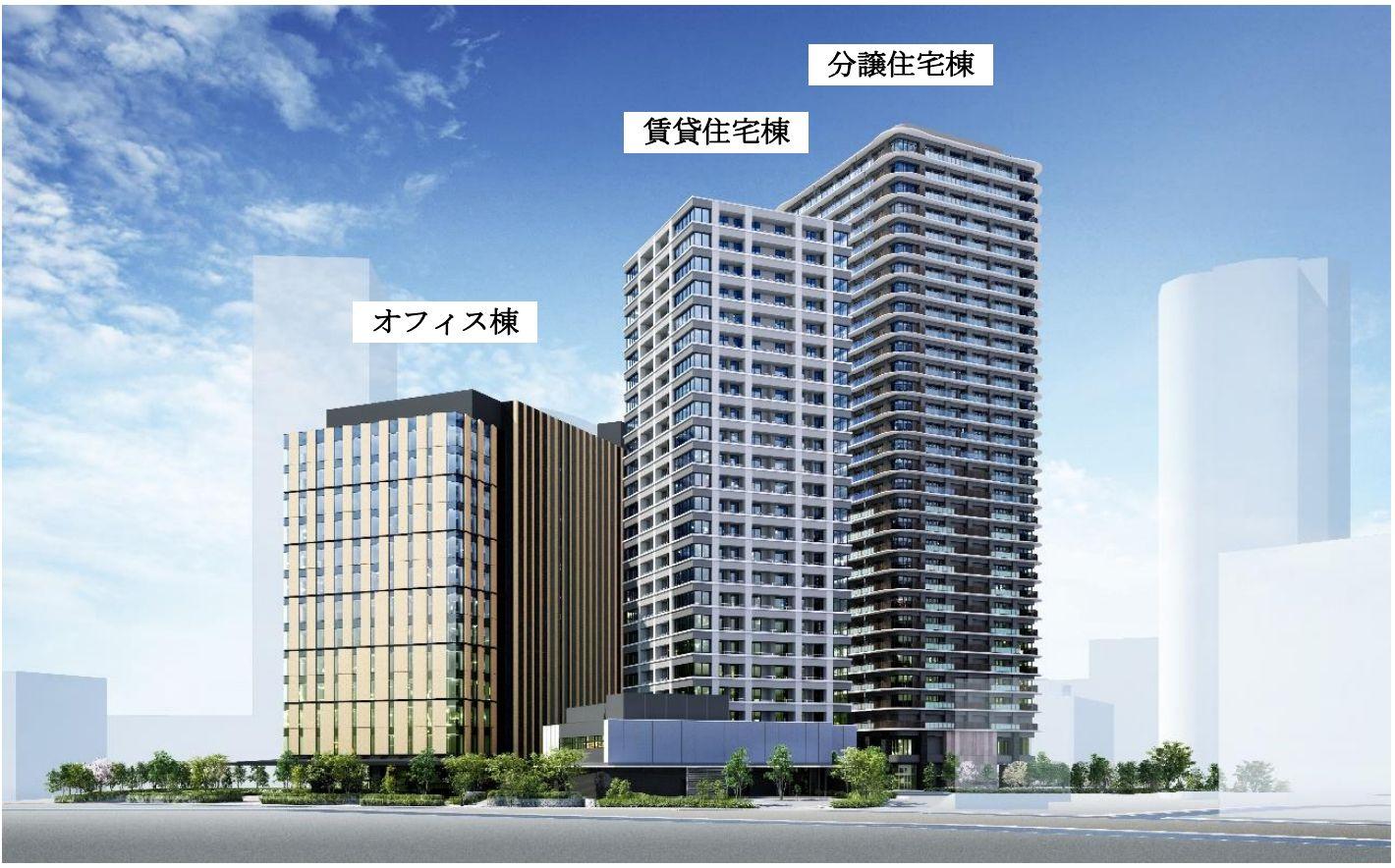 (仮称)西五反田 3 丁目プロジェクトの完成予想イメージ