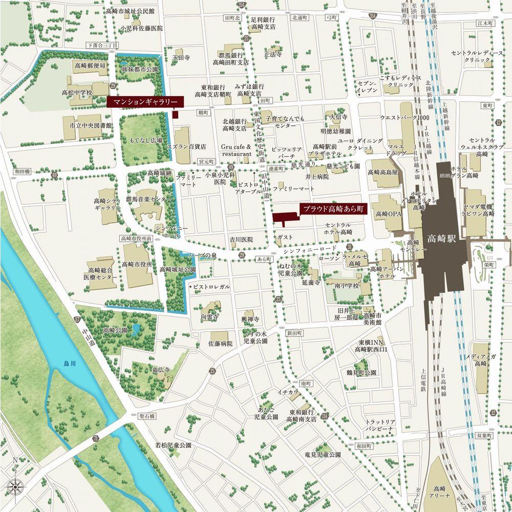 「プラウド高崎あら町」の現地案内図