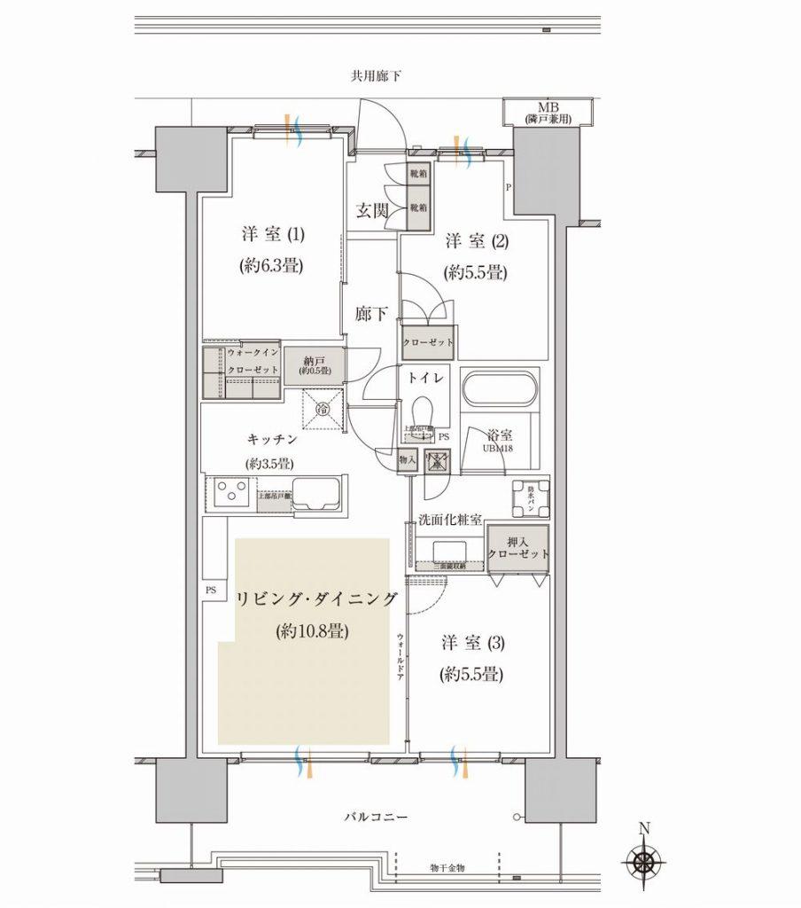 「プラウド高崎あら町」の C3type 3LDK+N+WIC 専有面積 70.67m²(約21.37坪)の間取り