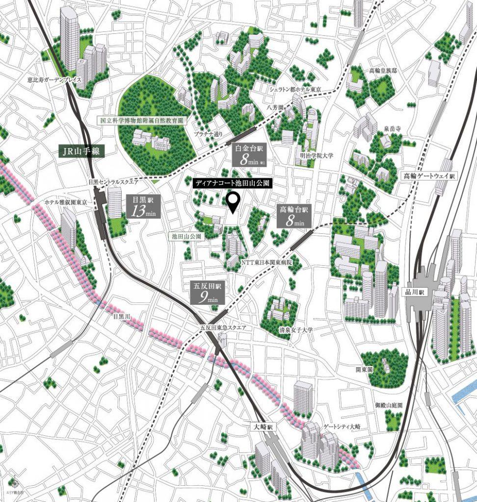 「ディアナコート池田山公園」の現地案内図(出典:公式HP)
