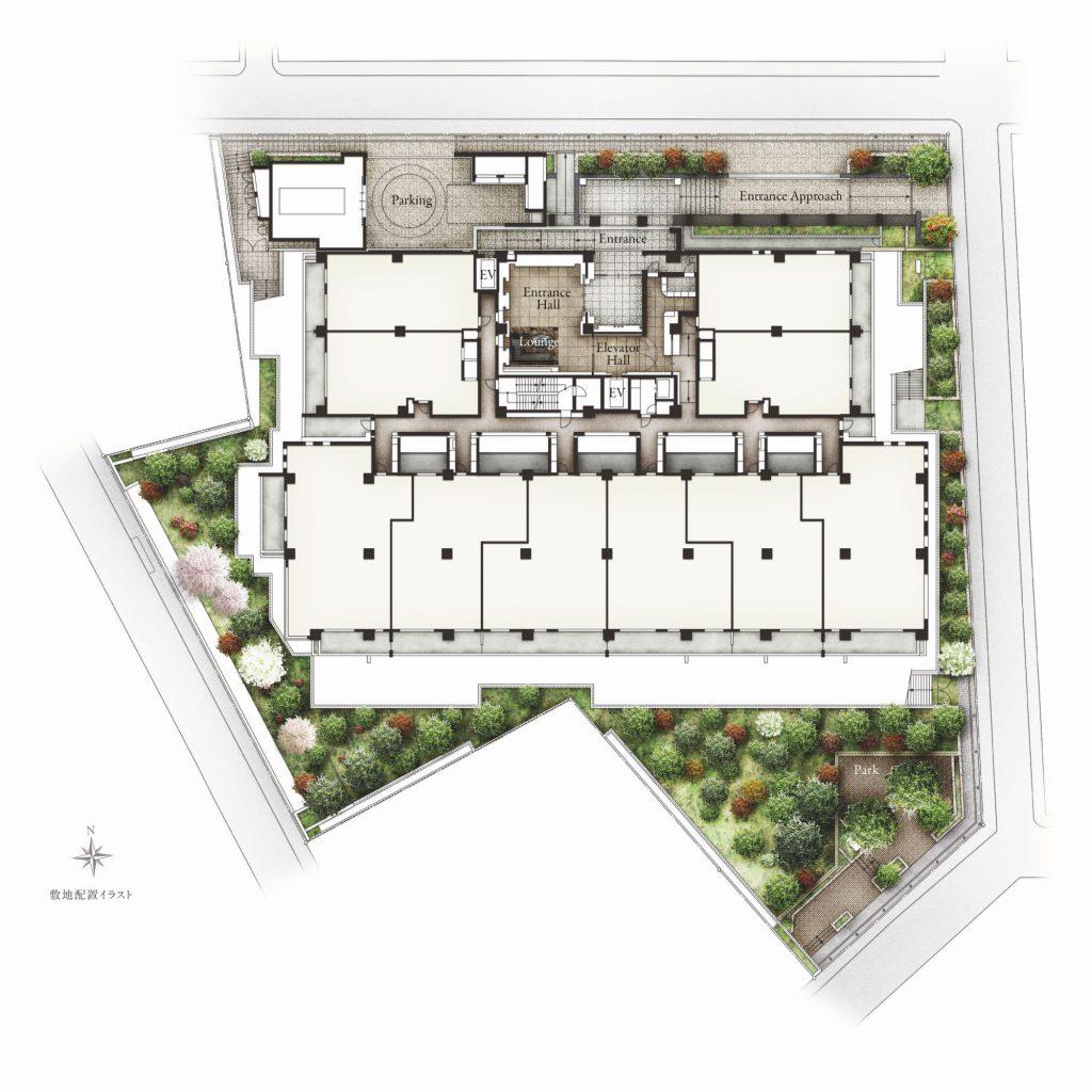 「ザ・パークハウス 自由が丘ディアナガーデン」の植栽計画平面図イメージ