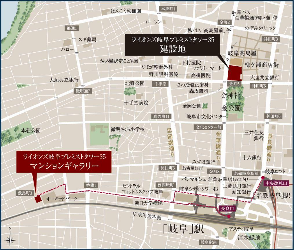 「ライオンズ岐阜プレミストタワー35」の現地とモデルルーム案内図