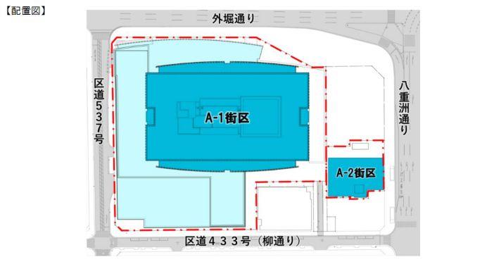 「東京ミッドタウン八重洲」の施設配置図