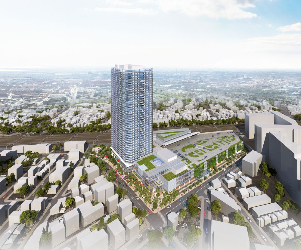 「東金町一丁目西地区第一種市街地再開発事業」完成予想CG