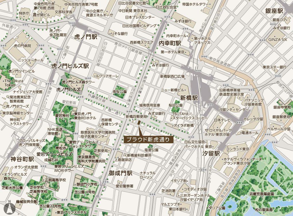 「プラウド新虎通り」の現地案内図