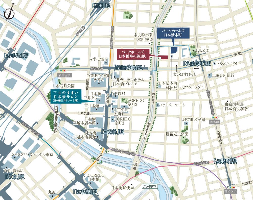 「パークホームズ日本橋本町」「パークホームズ日本橋時の鐘通り」の現地案内図