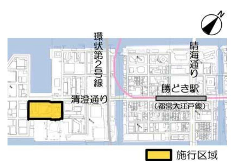 「豊海地区第一種市街地再開発事業」の施工区域