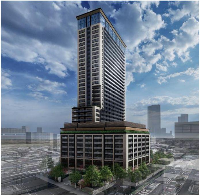 「(仮称)パークウェルステイト西麻布計画」の建物全体完成予想イメージ