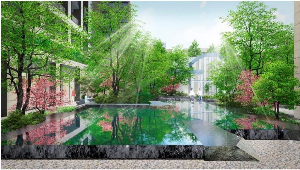 「(仮称)パークウェルステイト西麻布計画」の水景完成予想イメージ