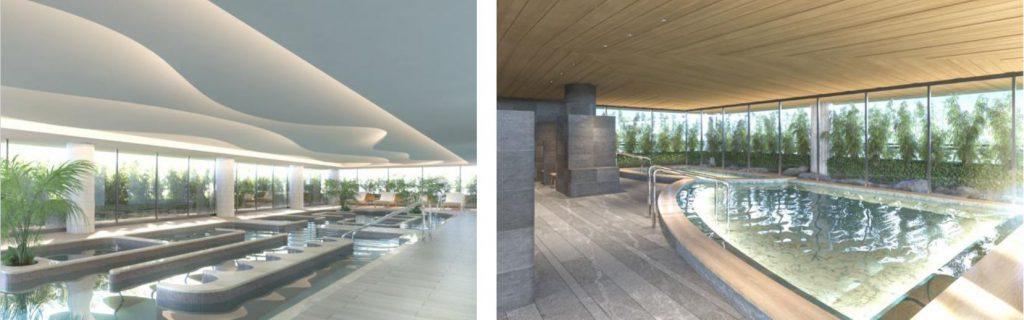 「(仮称)パークウェルステイト西麻布計画」のウェルネスプール、大浴場完成イメージ