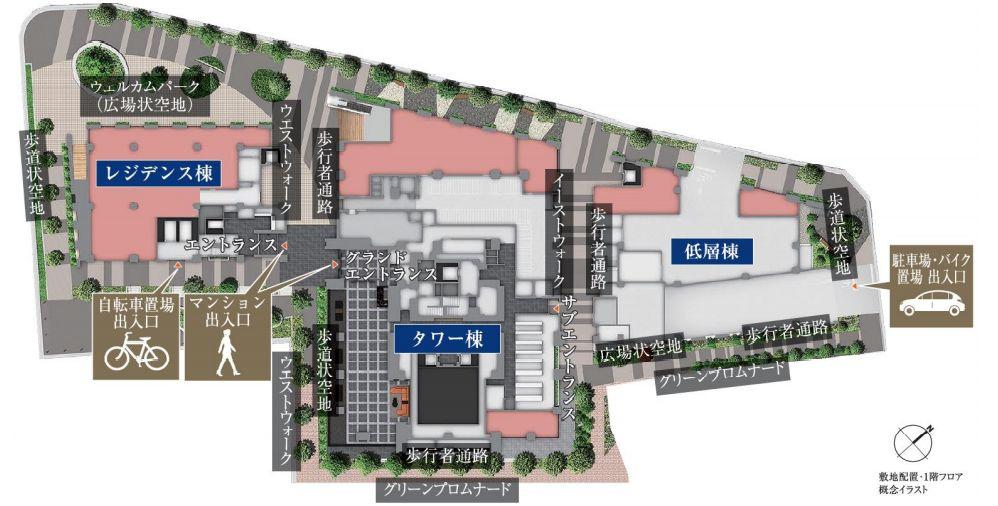 シティタワー武蔵小山の1階敷地配置図