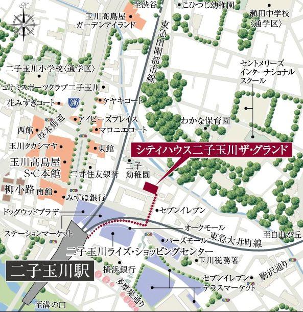 シティハウス二子玉川ザ・グランドの現地案内図