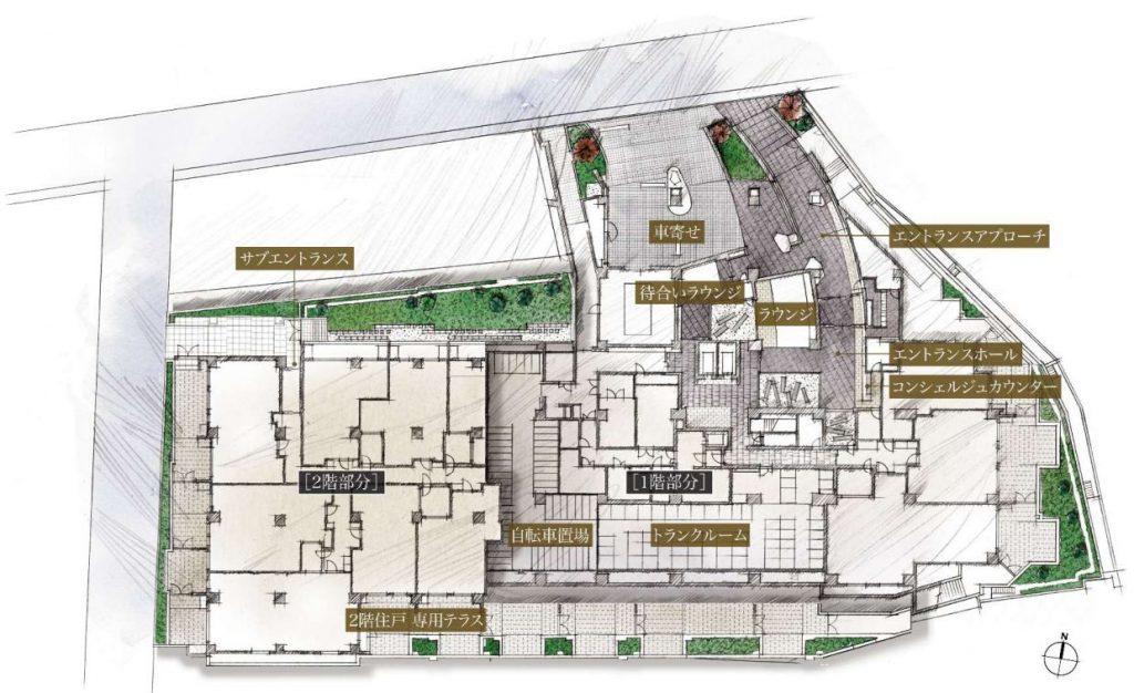 「ザ・パークハウス グラン 神山町」の敷地配置図