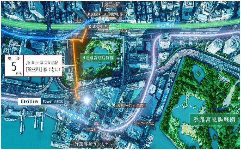 「ブリリアタワー浜離宮」の建設地位置図
