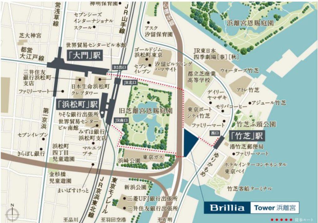 ブリリアタワー浜離宮の現地案内図